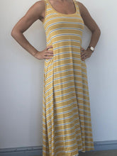 Load image into Gallery viewer, Freda and Dick A-line dress - mustard yellow stripe