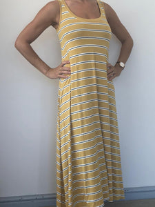 Freda and Dick A-line dress - mustard yellow stripe