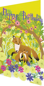 RLB Happy birthday - fox with two cubs laser cut card