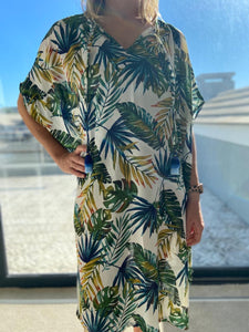 Freda and Dick kaftan tunic - Monater leaf print