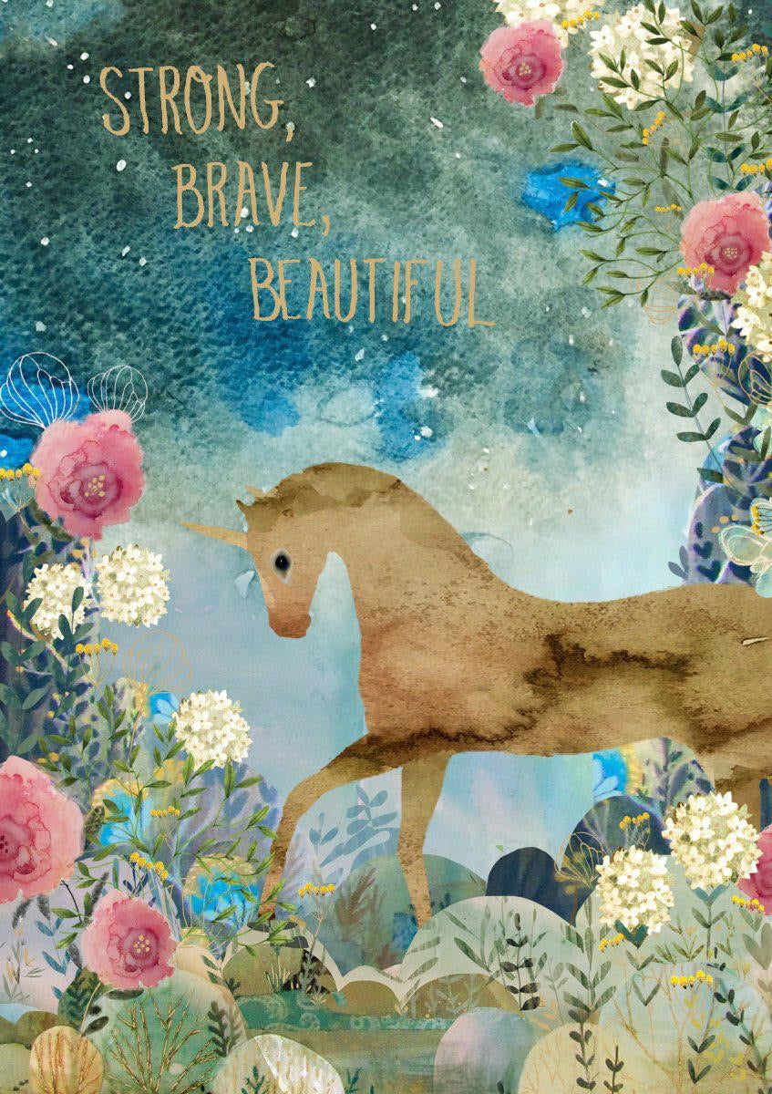 RLB Strong brave beautiful unicorn card