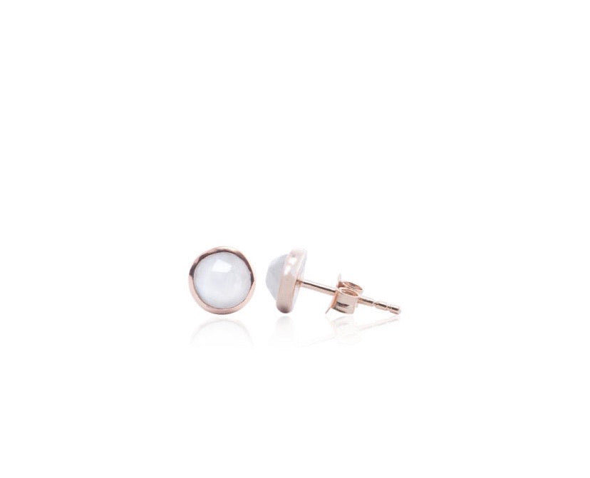 Faceted Moonstone stud earring - Silver Gold plated