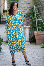 Load image into Gallery viewer, Mastik front pocket dress- Turquoise yellow floral