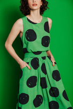 Load image into Gallery viewer, Good cropped keyhole tank top - green polka