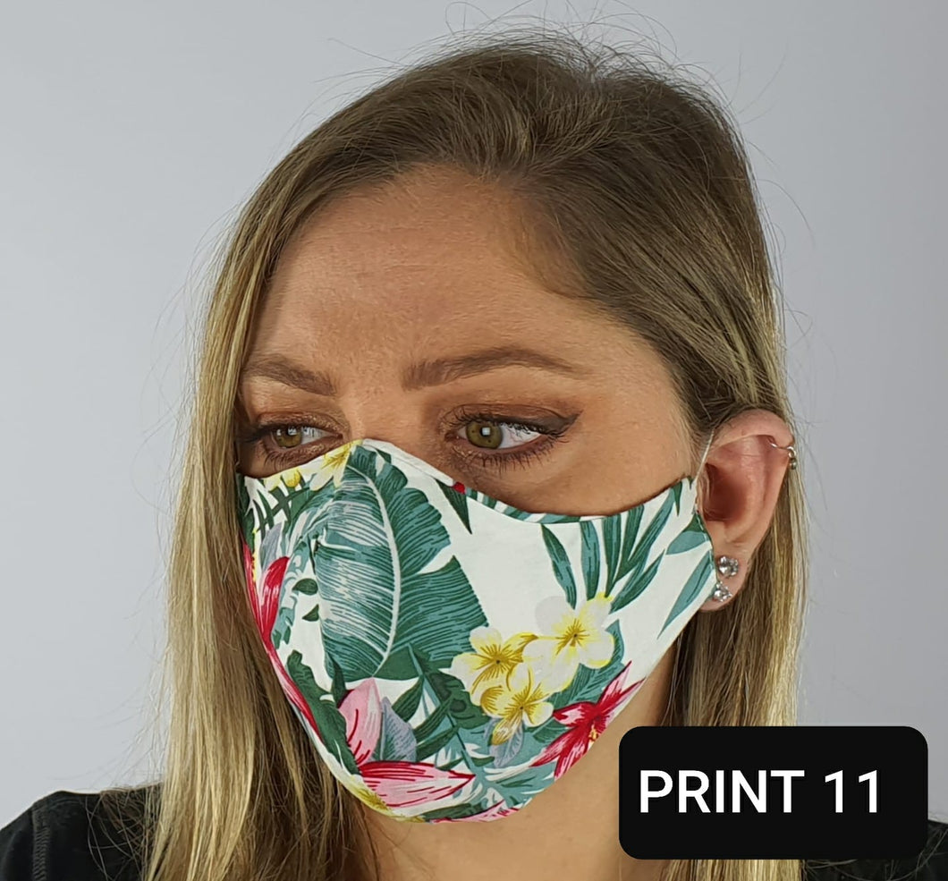 Face mask viscose - white floral