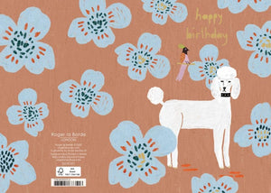 RLB Happy birthday poodle and bird petite card