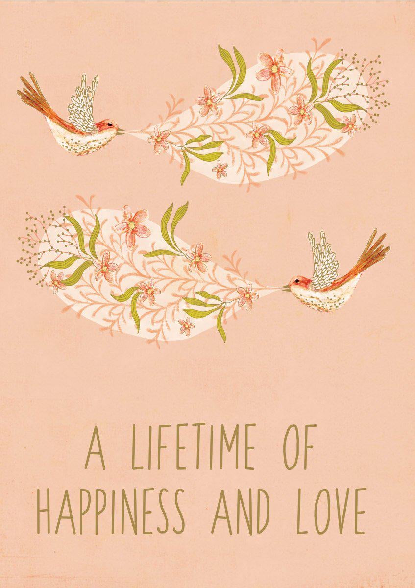 RLB A lifetime of happiness and love - two birds card