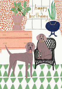 RLB Happy birthday two dogs write card