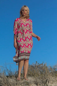 Freda and Dick Mia Kaftan - Pink Henna print with tassles