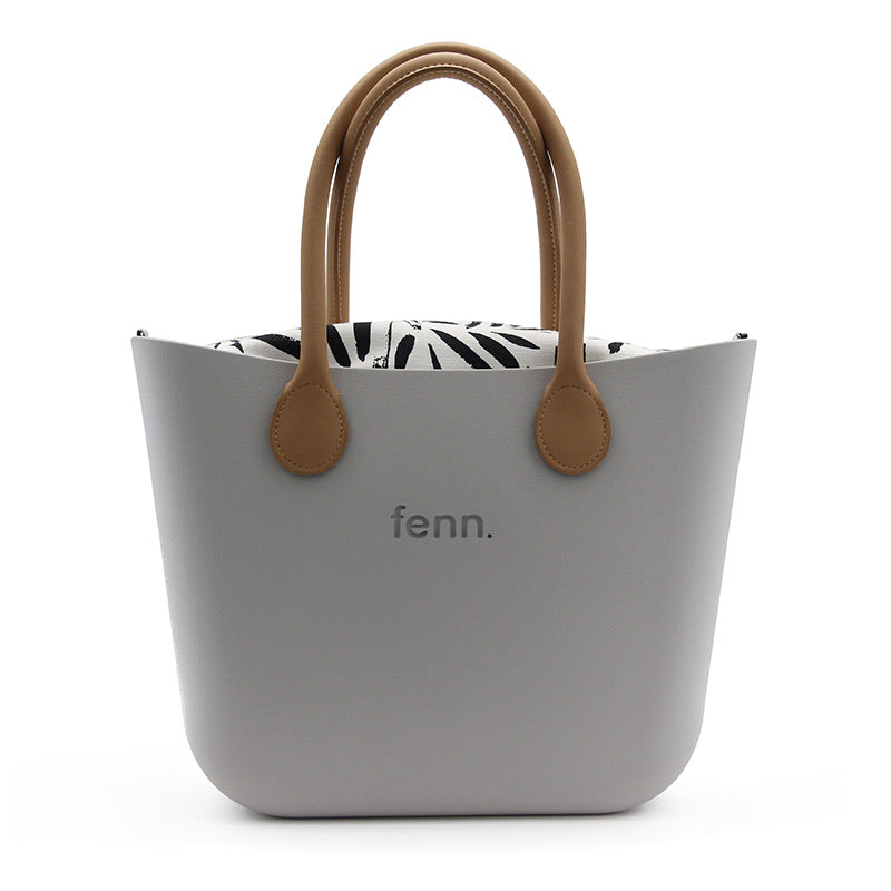 Fenn original bag - Grey with patterned inner and tan handle