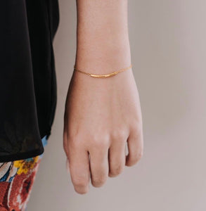Convex bar bracelet - Silver Gold plated