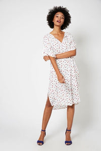 Good kaftan dress - white feather print