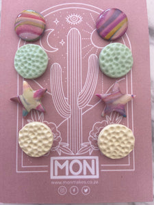 MON polymer and resin earrings - Set of 4 studs with star