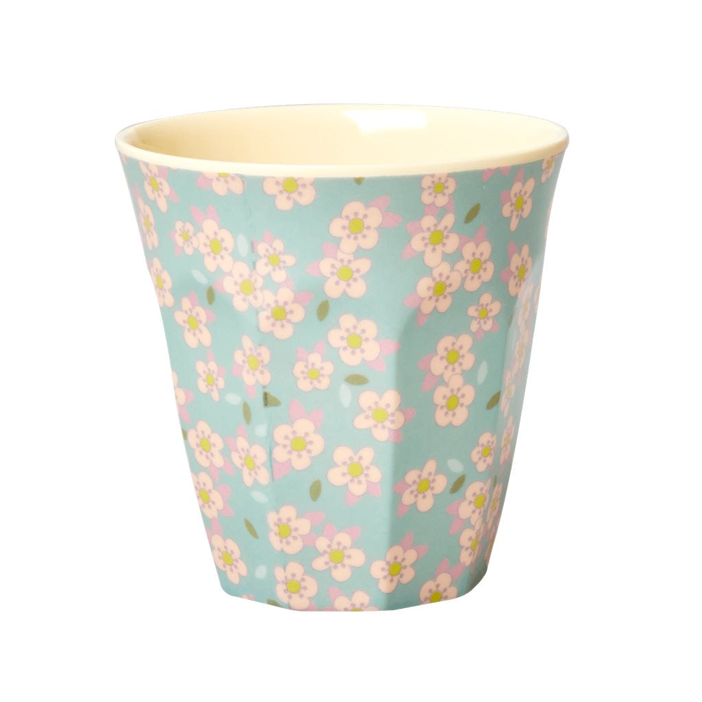 Rice - melamine medium cup ditsy floral blue