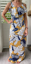 Load image into Gallery viewer, Crave ruffle dress - yellow blue print