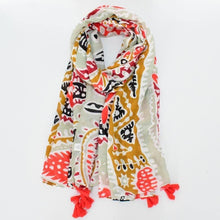 Load image into Gallery viewer, Scarf - sage paisley aztec