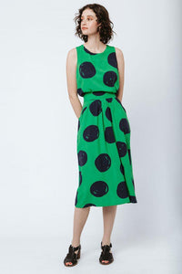 Good cropped keyhole tank top - green polka