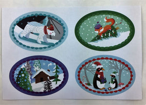 RLB Gift bag set with matching stickers - Chalet snow
