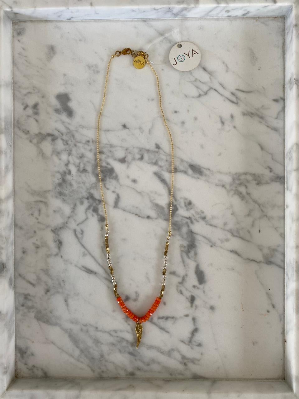 Joya gold beaded necklace with angel wing pendant