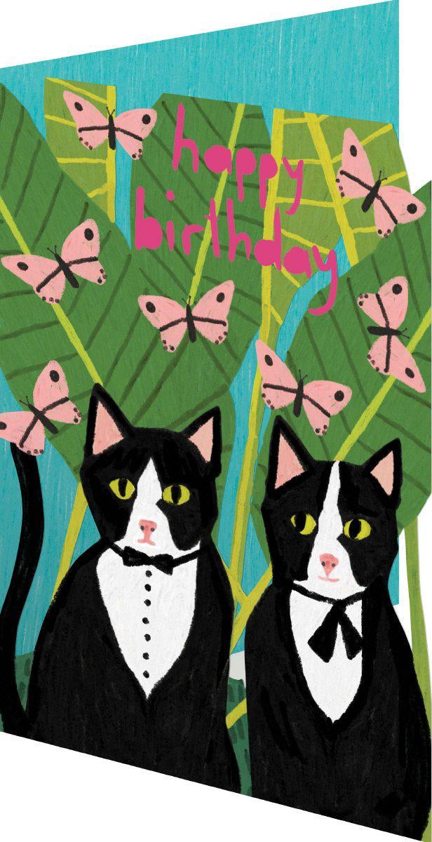 RLB Happy birthday - two cats in suits with butterflies lasercut card