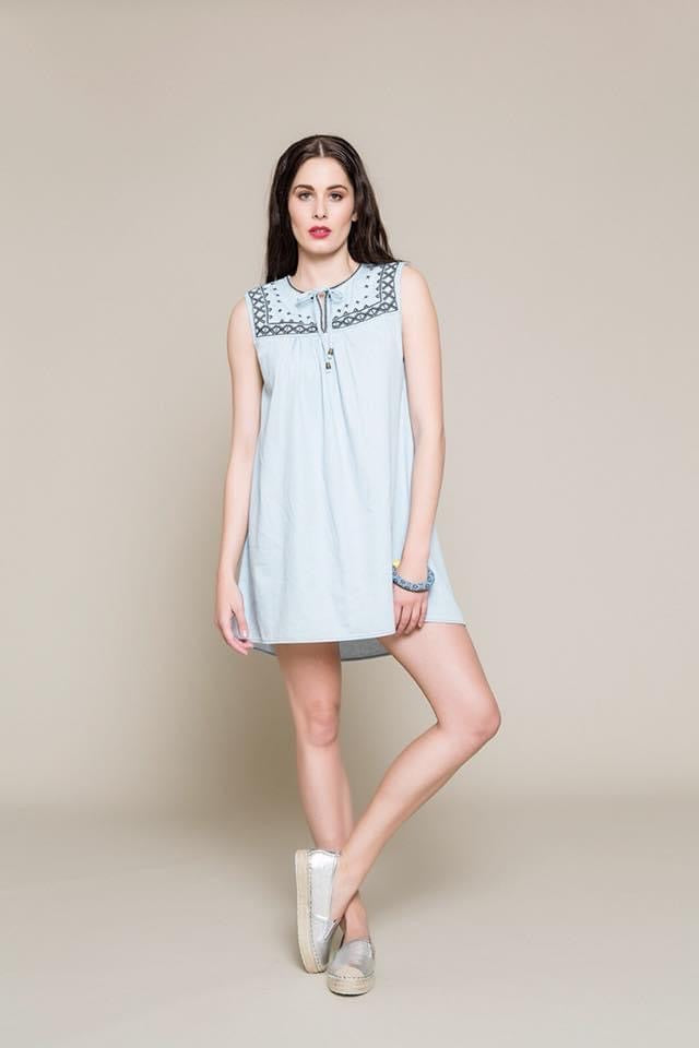 Crave mini denim dress - light blue denim