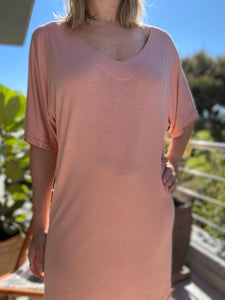 Freda and dick V tunic dress - Peach