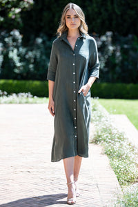 Mastik Button through dress - olive