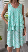 Load image into Gallery viewer, Calico layer dress - Mint green diamond print