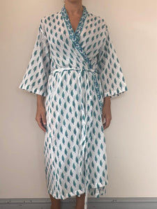 Freda and Dick wrap belted gown - Green trees blue trunk