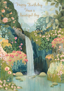 RLB Happy birthday have a beautiful day waterfall card