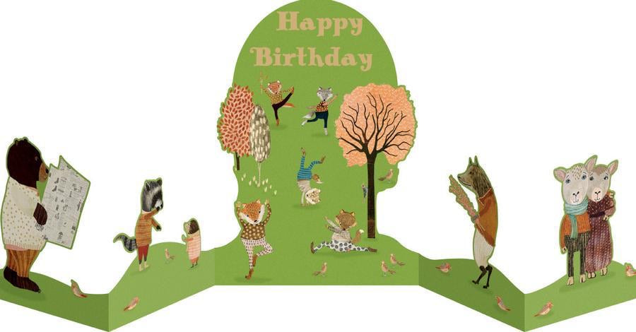 RLB Happy birthday - yoga in the park concertina card