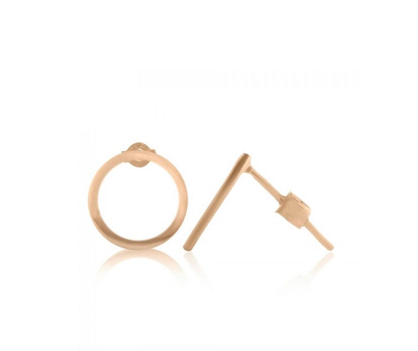 Hollow circle stud earrings - Silver gold plated
