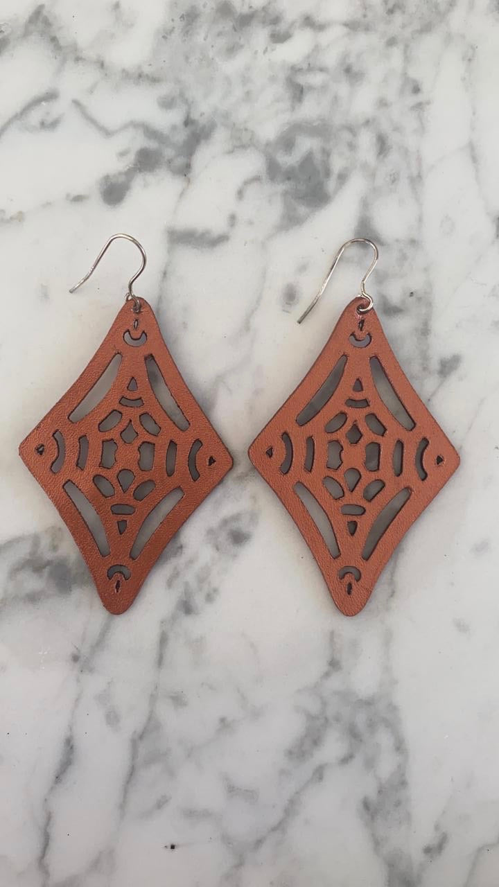 Leather lasercut earring