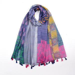 Scarf - Indian print black with colour