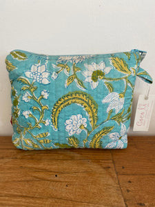 Anokhi medium flat cosmetic bag - Turquoise