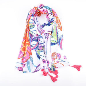 Scarf - white colourful floral