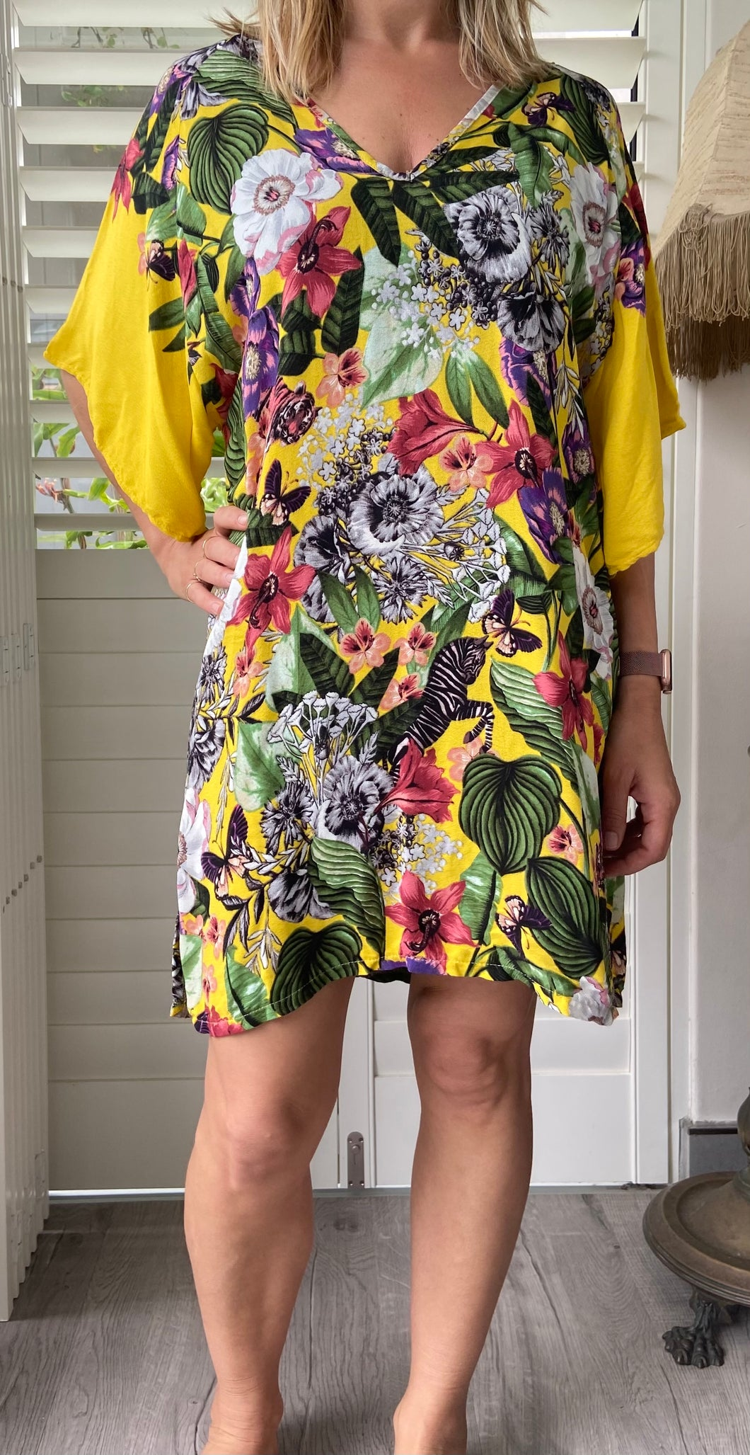 Freda and Dick v neck dress - yellow jungle
