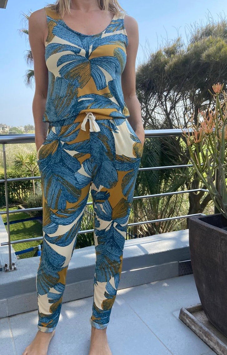 Freda and dick Carla jumpsuit- gold and teal leaf