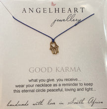 Load image into Gallery viewer, Angelheart Hamsa pendant with silk thread