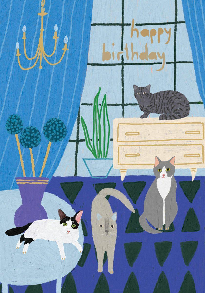 RLB Happy birthday four cats petite card