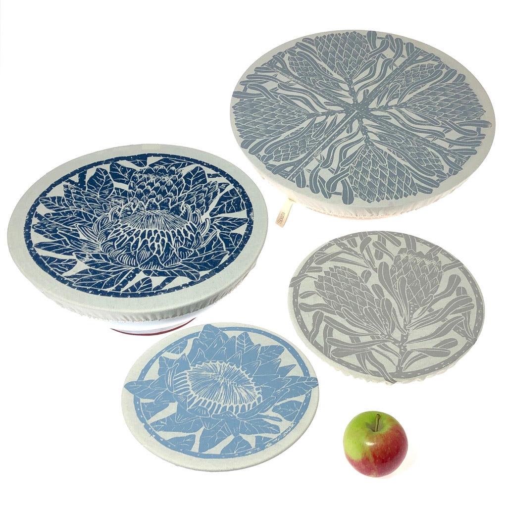 Spaza Dish and Bowl Cover Set of 4 Protea Print | covers everything