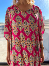 Load image into Gallery viewer, Freda and Dick Mia Kaftan - Pink Henna print with tassles