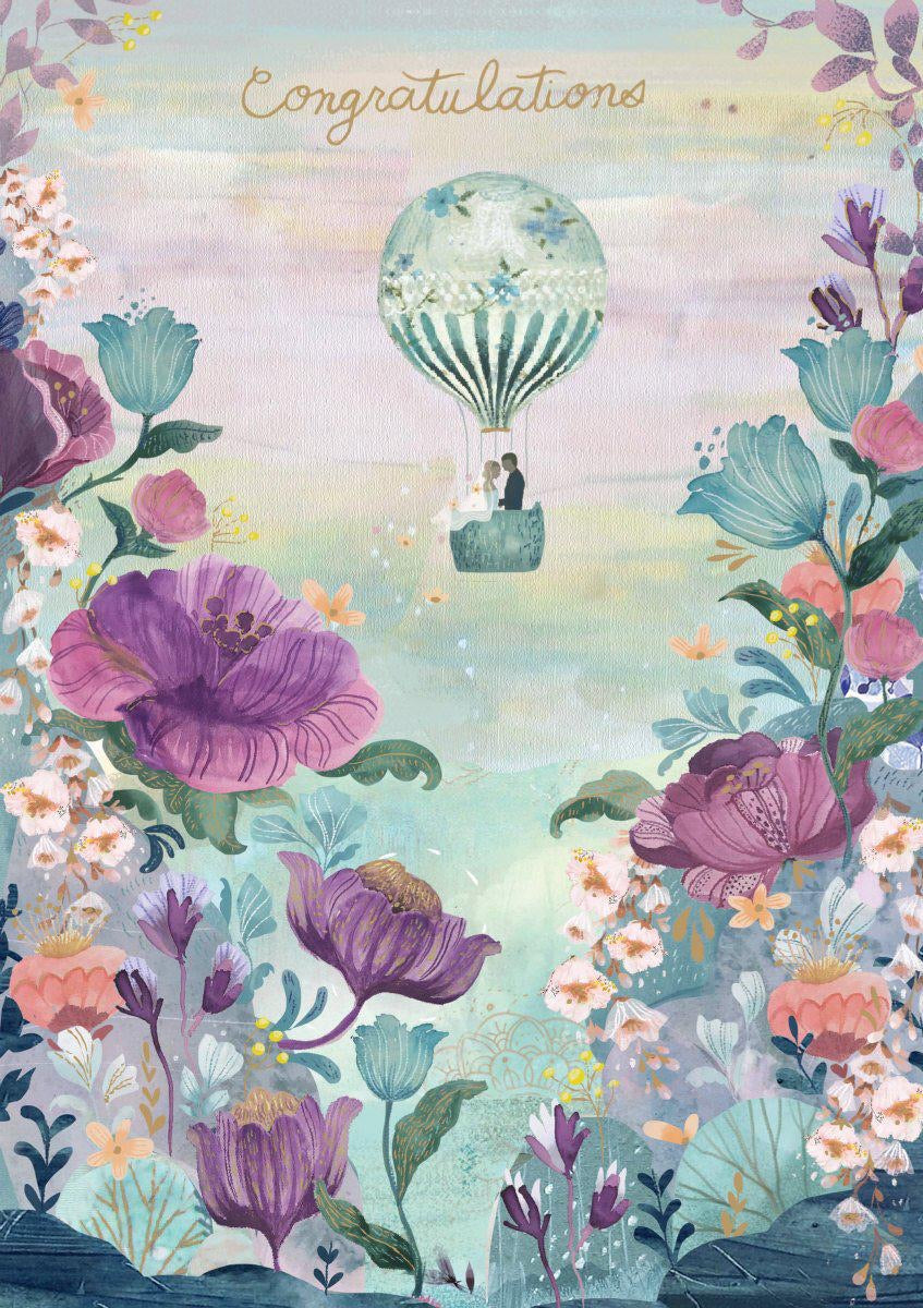 RLB Congratulations - wedding hot air balloon card