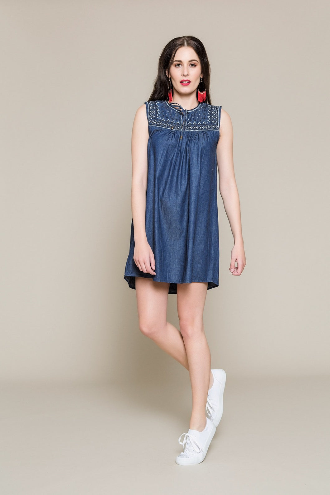 Crave mini denim dress - dark blue denim