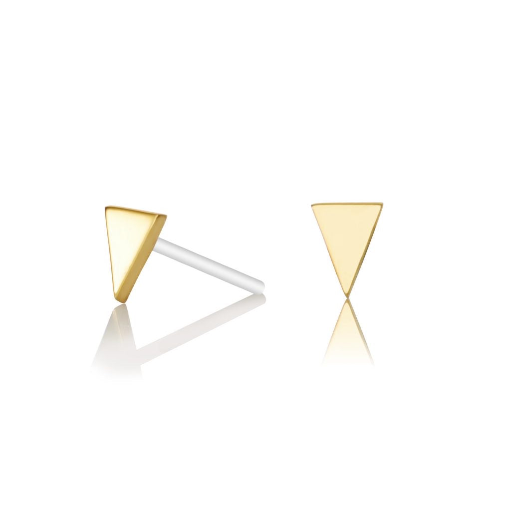 Tiny Triangular stud earrings - Brass