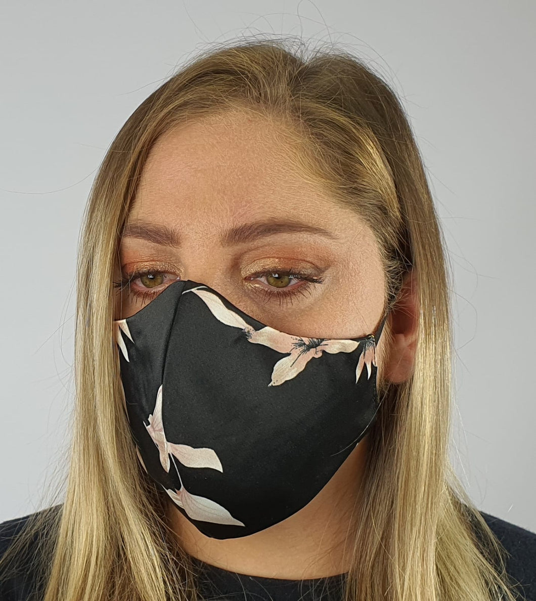Face mask satin - black pastel floral