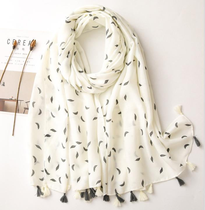 Scarf - cream black small feather print