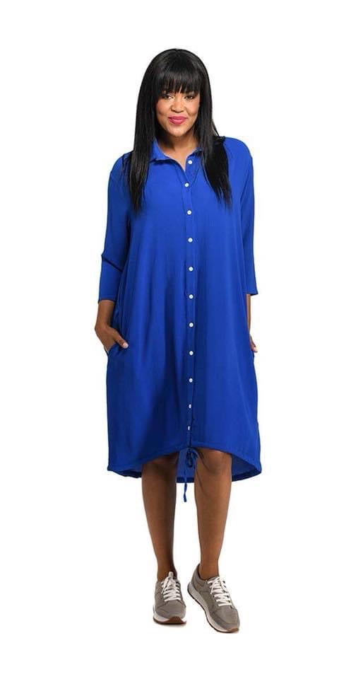Mastik collared button up dress - bright blue