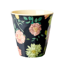 Load image into Gallery viewer, Rice - melamine medium cup black floral