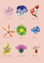 Load image into Gallery viewer, RLB Flowers peace love laughter card